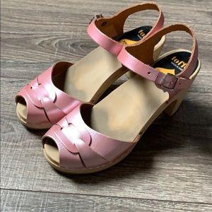Swedish Hasbeens Peep Toe Pearl Pink Size 38